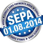"""Button Banner """"SEPA"""" August blau/silber"""